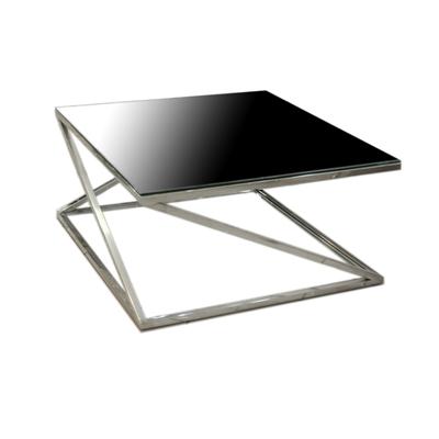 """שולחן סלון מרובע שחור מנירוסטה 80 ס""""מ"""