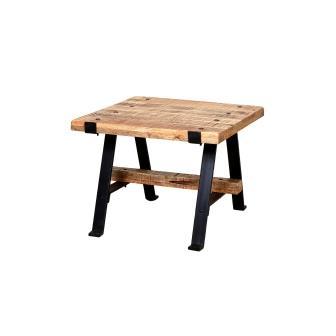 """שולחן קפה מרובע מעץ 60 ס""""מ ובסיס ברזל"""
