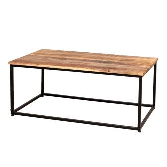 שולחן סלון מעץ 1.10X60 ובסיס ברזל