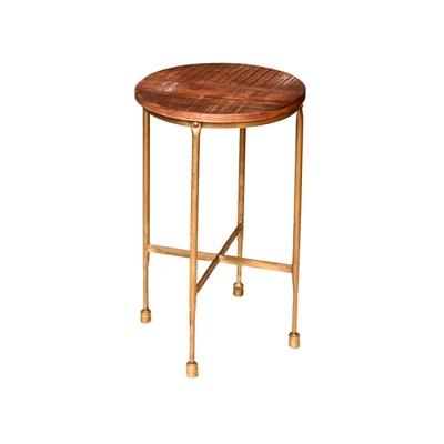 """שולחן עגול עץ אגוז/ברזל 37 ס""""מ"""