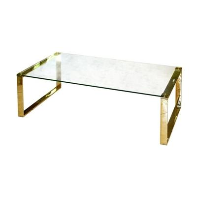 שולחן קפה זכוכית וזהב 120X60