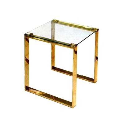 שולחן צד זכוכית וזהב 45X45