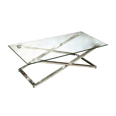שולחן קפה זכוכית ונירוסטה 120X60