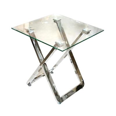 שולחן צד זכוכית ונירוסטה 50X50