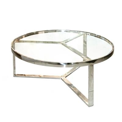 """שולחן זכוכית ונירוסטה 90 ס""""מ"""