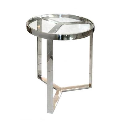 """שולחן קפה מזכוכית ונירוסטה 50 ס""""מ"""