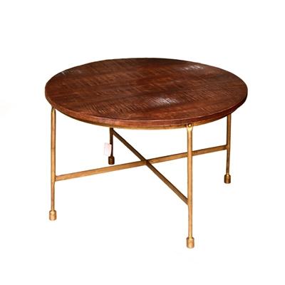 """שולחן עגול 70 ס""""מ עץ אגוז/ברונזה"""