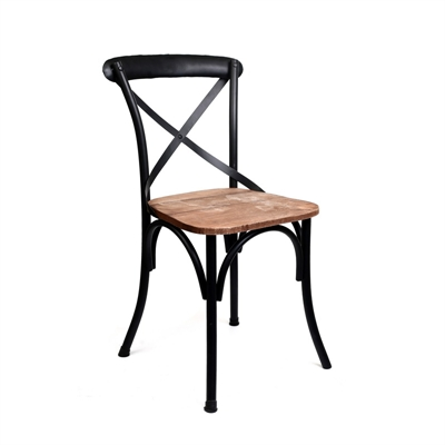 h86 זוג כיסאות אוכל עץ/ברזל