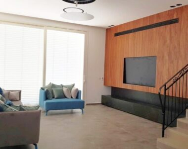 חיפוי קיר לסלון עם שילוב טלוויזיה