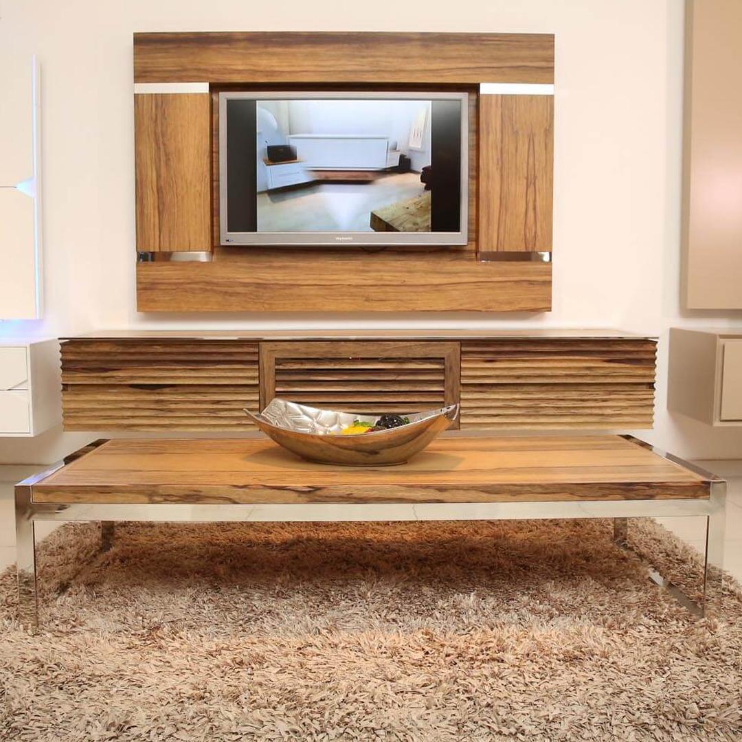 שולחן לסלון עץ ונירוסטה דגם niro