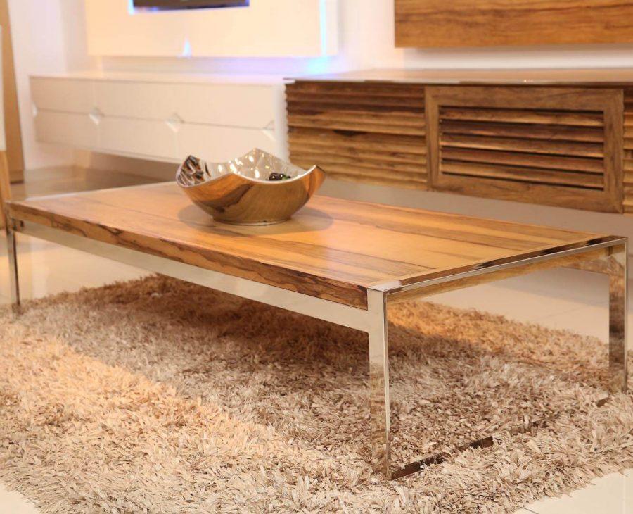 שולחן סלון אגוז עץ משולב נירוסטה