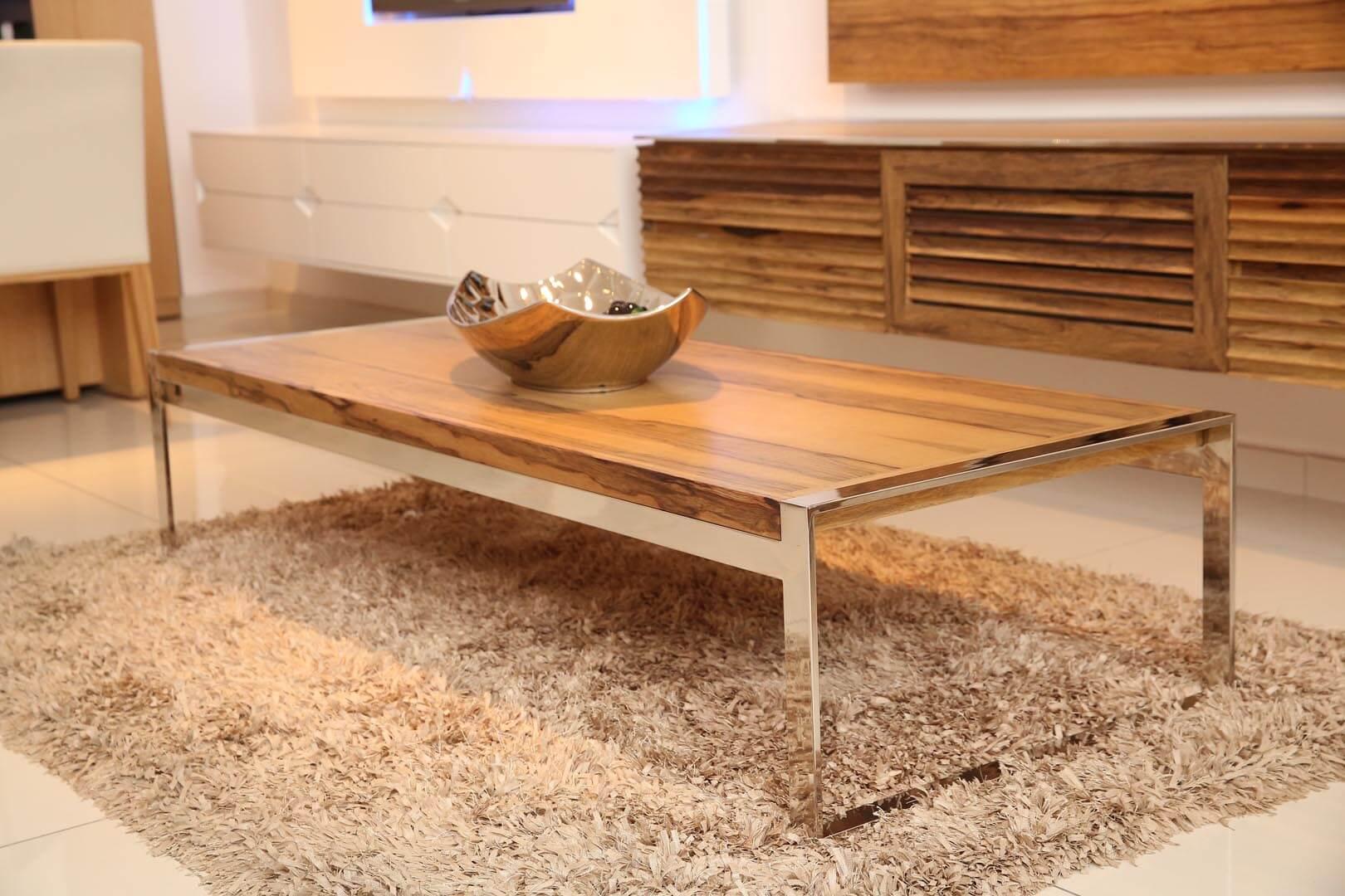 שולחן סלון מעץ ונירוסטה אגוז
