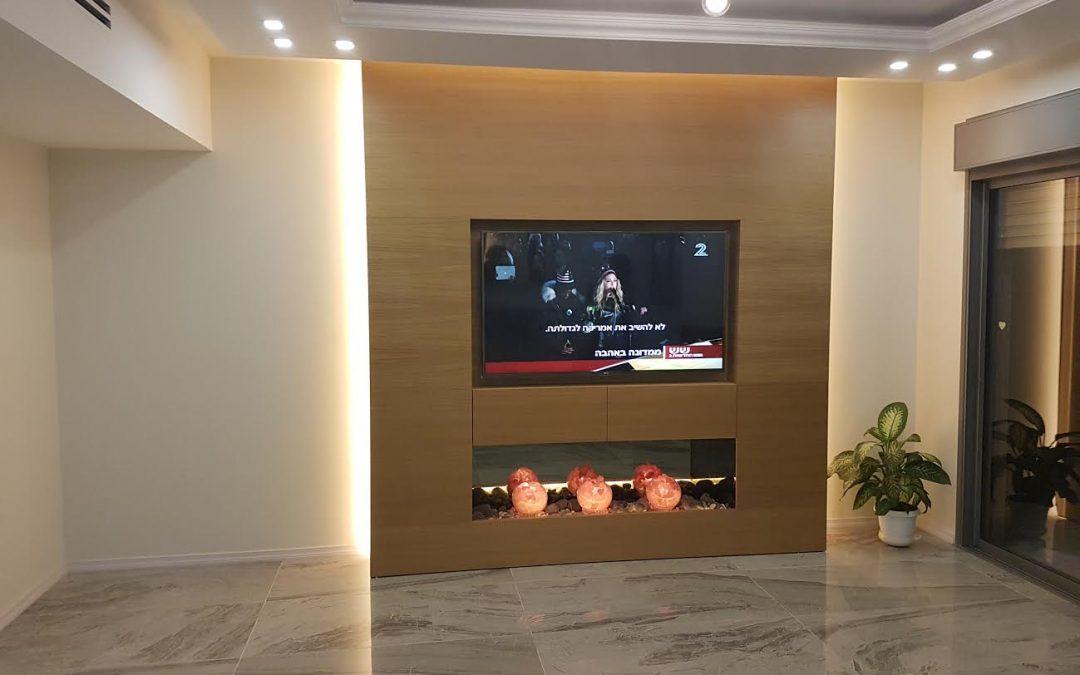 חיפוי עץ לקיר טלויזיה ליזה