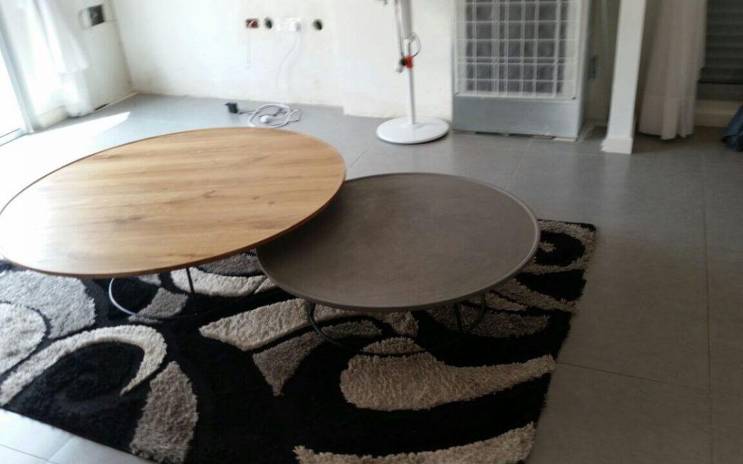 שולחן סלון עגול מעץ צלחת