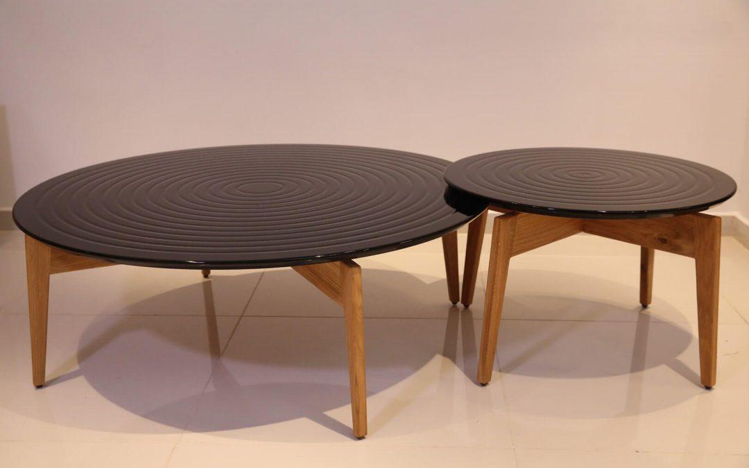 שולחן סלון עגול מעץ דגם 'גלים'