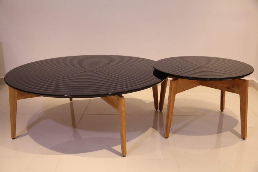 שולחן סלון עגול מעץ גלים