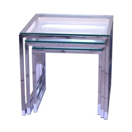 """סט 3 שולחנות זכוכית ונירוסטה40/45/50 ס""""מ"""