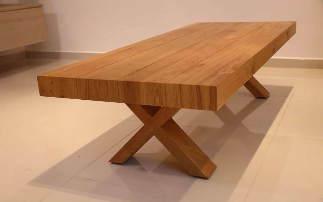 שולחן סלון מעץ דגם 'איקס'