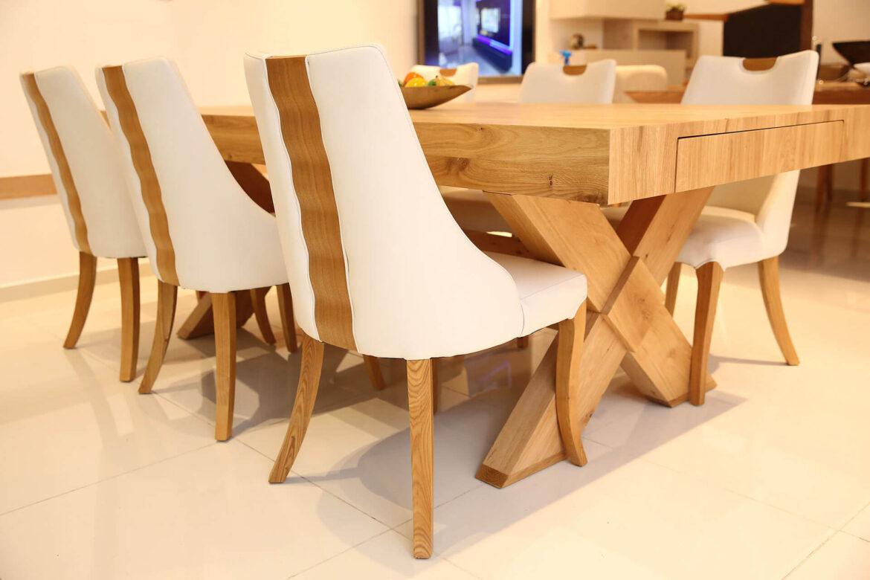 פינת אוכל - שולחן אוכל מלבני 6 כיסאות לבנים